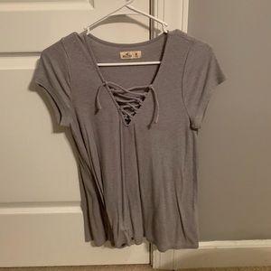 Gray Ribbed Hollister Criss Cross Shirt